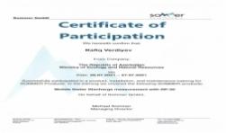 SOMMER şirkəti tərəfindən hidroloqlar üçün keçirilən treninqdə iştirak edən mütəxəssislərə sertifikat təqdim olunmuşdur.